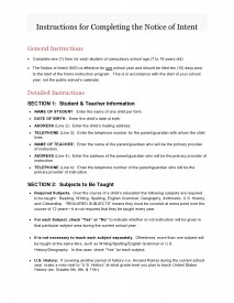 Instructions for Completing Notice of Intent - Page 1